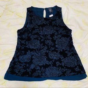 Ann Taylor Blue Velvet Floral Top Size: S New